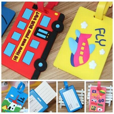 Travel Luggage Bag Tag Name Address ID Label Rubber Suitcase Baggage Tags 2 PCS