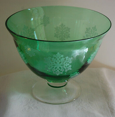 Emerald Green White Snowflakes Blown Glass Footed Bowl/Compote Centerpiece Decor