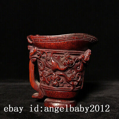 "3"" Chinese old antique Ox horn handcarved beast patteren Cup statue f4"