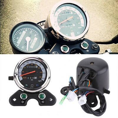 12V LCD Motorcycle Dual Odometer Speedometer Tachometer LED Gear Indicator 160km