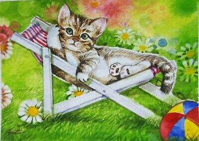 ORIGINAL ACEO Painting Art CAT Floral Ball Landscape Spring Nature Gift Card HBD