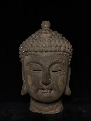"16"" Chinese old antique aloeswood wooden handcarved buddha head statue F5"