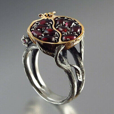 Vintage Silver Gold Fruit Red Pomegranate Stone Ring Garnet Tree Vine Jewelry