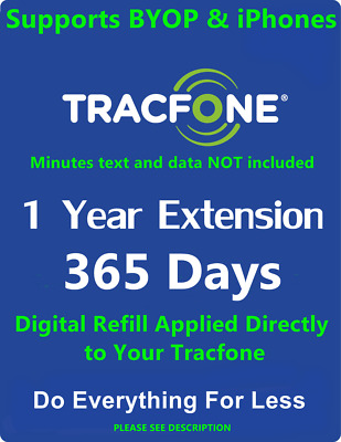 Tracfone 1 Year Service Extension Refill Card 365 Days Supports BYOP