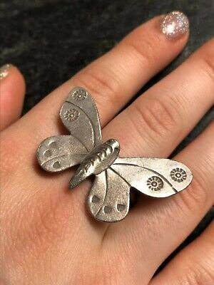 Vintage SIZE 7 Large Sterling Silver Stamped Butterfly Ring NF 925 Thailand