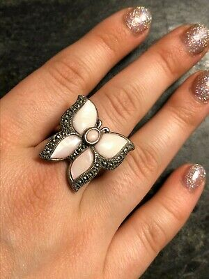 Vintage Sterling Silver SIZE 7 Pink MOP Marcasite Butterfly Ring 925 LS THAILAND