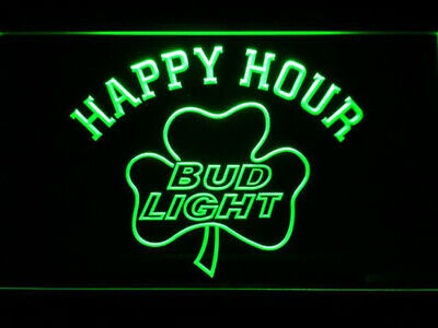 Bud Light Shamrock Happy Hour Beer Bar LED Sign 8*12 Inch