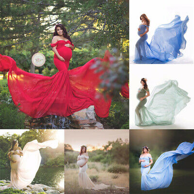 Pregnant Womens Lace Maternity Dress Maxi Ball Gown Prom Photography Phpto Shoot