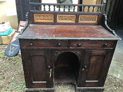 Unusual Victorian Pine Double Pedestal Kneehole Desk With Carved Oak Panels