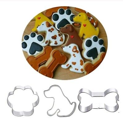 3 Pcs Stainless Steel Dog Bone Claw Biscuit Cookie Cutter Cake Decor Mold Tool