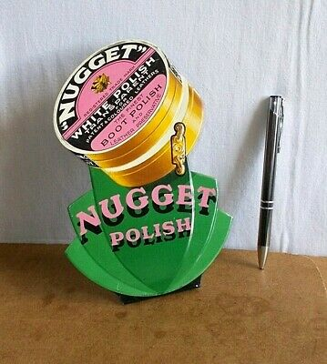 RARE vintage tin embossed sign 1935 - boot & leather NUGGET POLISH white polish