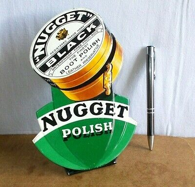 RARE vintage tin embossed sign 1935 - boot & leather NUGGET POLISH black polish