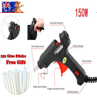 150W Electric Hot Melt Glue Gun Plus 20pcs 7mm*100mm Glue Sticks Craft Tool Kit