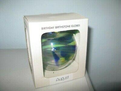 Birthday Birthstone Globes - August. Blue/Green Colour  Boxed, unused so GC