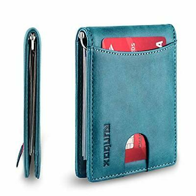 RFID Blocking Bifold Slim Women ID Card Holder Leather Men's Wallet