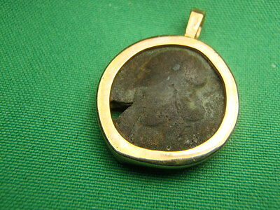 Mounted in 14K Gold Antoninianus 280 AD Bronze Roman Empire Ancient Coin # 1299