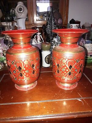 A Pair of Vintage Indian Bronze/Enamel Heavy solid circa 1950's  HLS