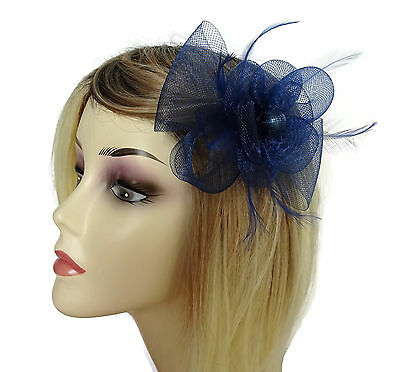 Navy Blue Fascinator hair clip corsage with Feathers in a bow style