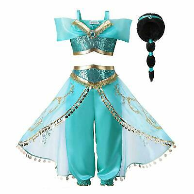 Aladdin Costume Girls Princess Jasmine Outfit Sequin Fancy Dress Accessories