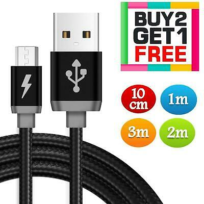 Heavyduty Braided Micro USB Charger Charging Lead Data Long Phone Cable 1M 2M 3M