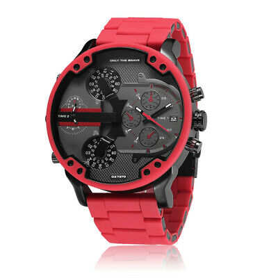 Herrenuhren Luxus Big Dial Red Steel Armband Männlich Kalender Armbanduhr Quarz