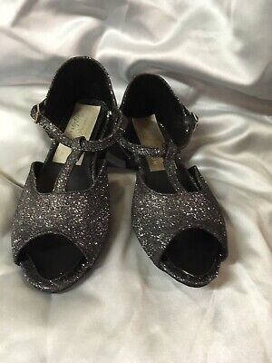 New Girls Ballroom Dance Shoes Sz 11 Black Sparkle Suede Sole, Latin,
