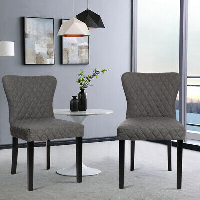 2x Diamond Fabric Dining Chairs Dining Room Chair High Back Wing Wooden Oak Legs