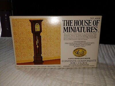 House of Miniatures William and Mary Tall Case Clock, Kit # 40018 - NEW