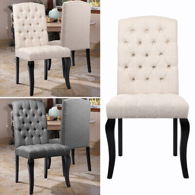2x Dining Chairs Dining Room Chair Linen Fabric Upholstered Buttoned High Back