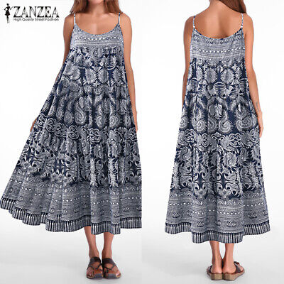 Sexy Femme Floral Printed à lanières Swing Loose Party Club Longue Robe Maxi