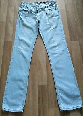 River island  Straight Leg  Jeans  Faded Ripped Size 8 31 Leg Ladies Womens