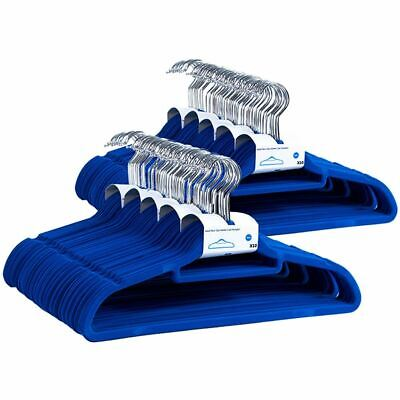 Hangers Blue Set of 100 Non Slip Velvet Clothes Hangers Trousers Coat Hangers