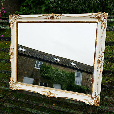 C18th Style Cream Painted & Parcel Gilt Flared Frame Wall Mirror - Early C20th
