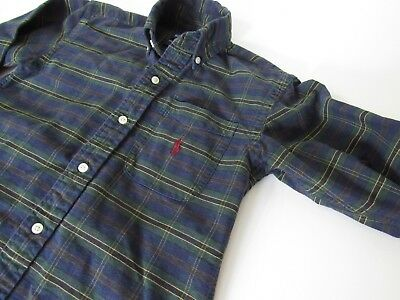 RALPH LAUREN Green/Navy Plaid Long Sleeve Shirt Boys size 4