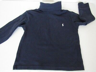 POLO RALPH LAUREN Toddler Kids Navy White Pony Mock Shirt size 4T