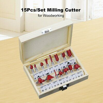 15Pcs/Set Milling Cutter Machine Tools Set Router Bit for Woodworking Cutters FE