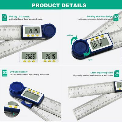 200MM Digital Protractor Inclinometer Goniometer Electronic Angle Gauge Ruler FE