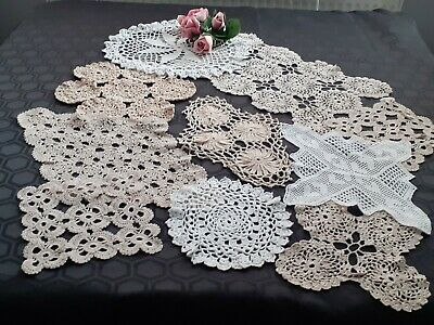 10 x VINTAGE CROCHET DOILIES.FOR WEDDINGS/CRAFTS.