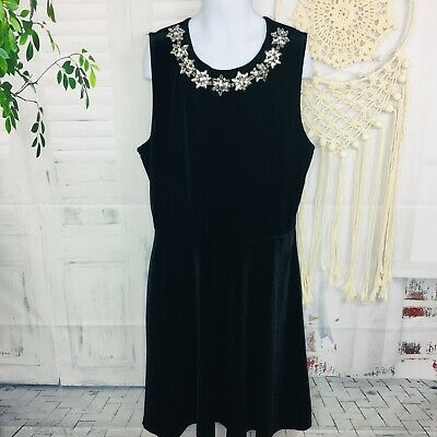 Girls Formal Dressy Black Velvet Dress Skater Sleeveless Rhinestone Trim Small