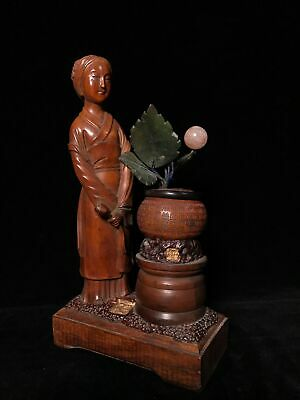 """9"""" Chinese old antique Boxwood wooden handcaved Standing Beauty statue"""