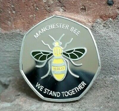 MANCHESTER BEE COIN SOUVENIR WE STAN TOGETHER coloured / KEW GARDENS 50P UK