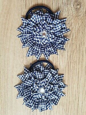 Handmade  Girls School Hair Bow Bobbles Navy Blue Gingham Flowers Sold In Pairs