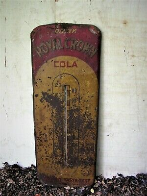 RARE Antique Early 1900's Royal Crown Cola Advertising Thermometer Sign