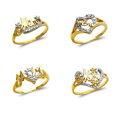 14K Solid Two Tone Gold  Mom Cubic Zirconia Fancy Mothers Heart Ring
