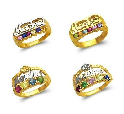 14K Solid Two Tone Gold Madre Multi Color CZ Fancy Mothers Ring