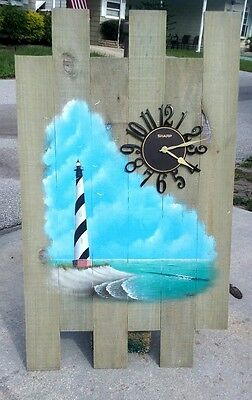 Cape Hatteras Lighthouse Barnwood Nautical Clock outer banks wooden wall art