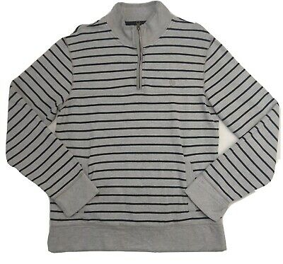 Fat Face Men's Grey & Black Striped Zip Neck LS Jumper Sweater Size Medium M