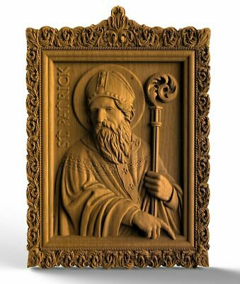 Saint Patrick Wood Carved Christian Icon Religious Gift Wall Hanging Art Work