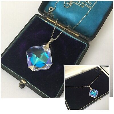 Antique Art Deco  Stunning Silver 835  Mounted Crystal Faceted Pendant w/ Chain