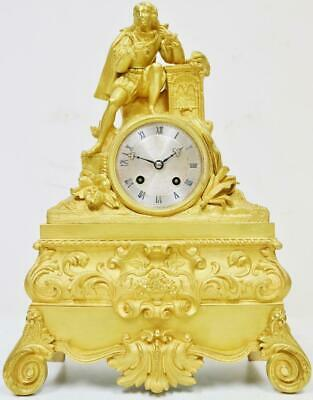 Antique French Empire 8 Day Striking Mantel Clock Bronze Ormolu Silk Suspension